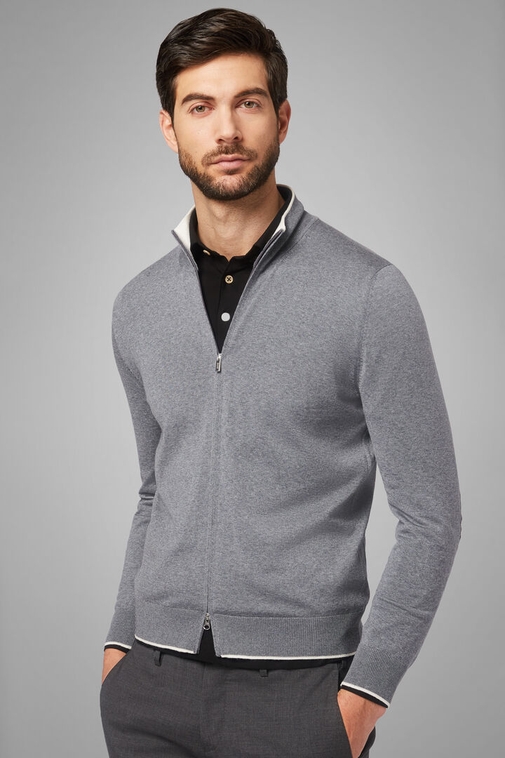 Merino Wool Full Zip Travel Jumper, Grey, hi-res