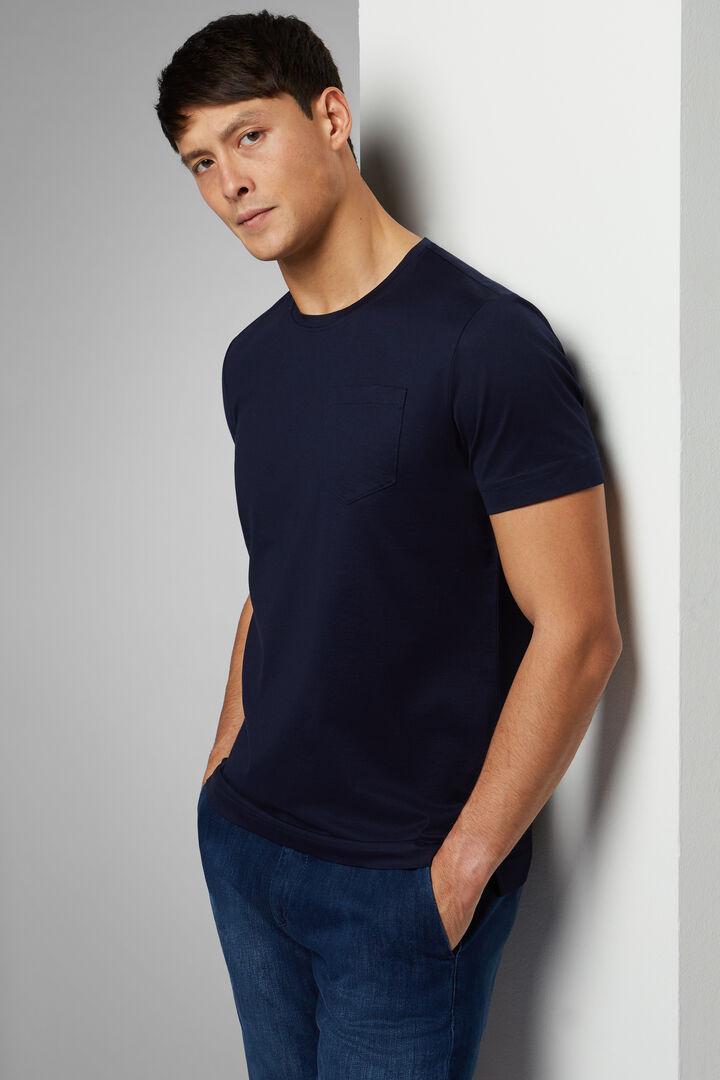 T-Shirt Blu In Jersey Di Cotone, Navy, hi-res