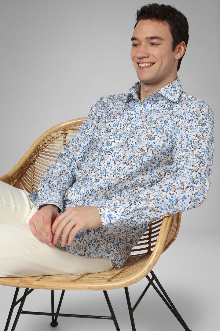 Camicia A Fiori Azzurro-Moro Collo Bowling Regular, Azzurro - Moro, hi-res