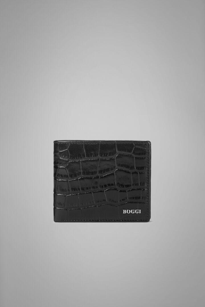 Portefeuille 8 Compartiments En Cuir Et Imprimé Crocodile, Noir, hi-res