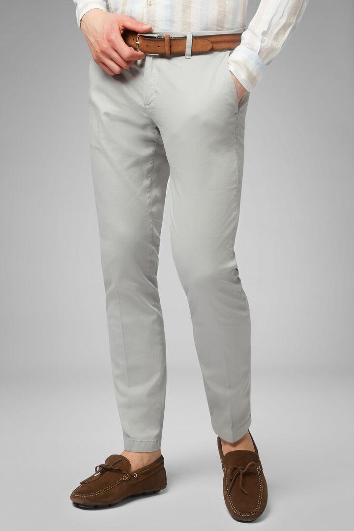 Pantalon Stretch En Coton Tencel Effet Délavé, Gris clair, hi-res