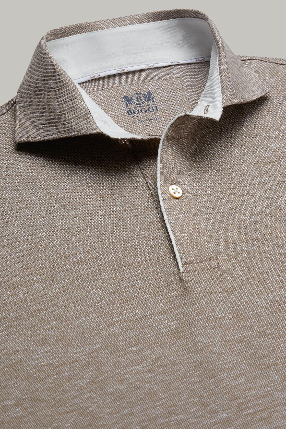 Polo aus baumwollpiqué und leinen regular fit, Beige, hi-res