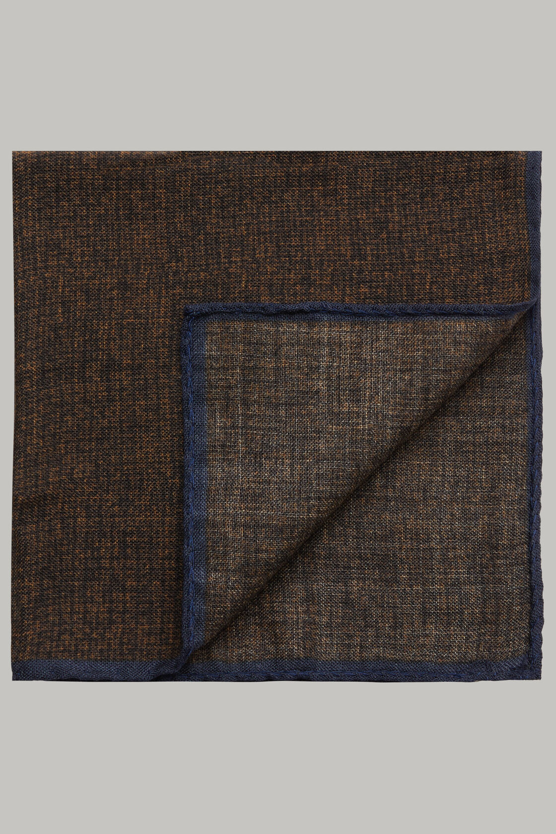 Pochette aramatura in lana, Marrone - Blu, hi-res