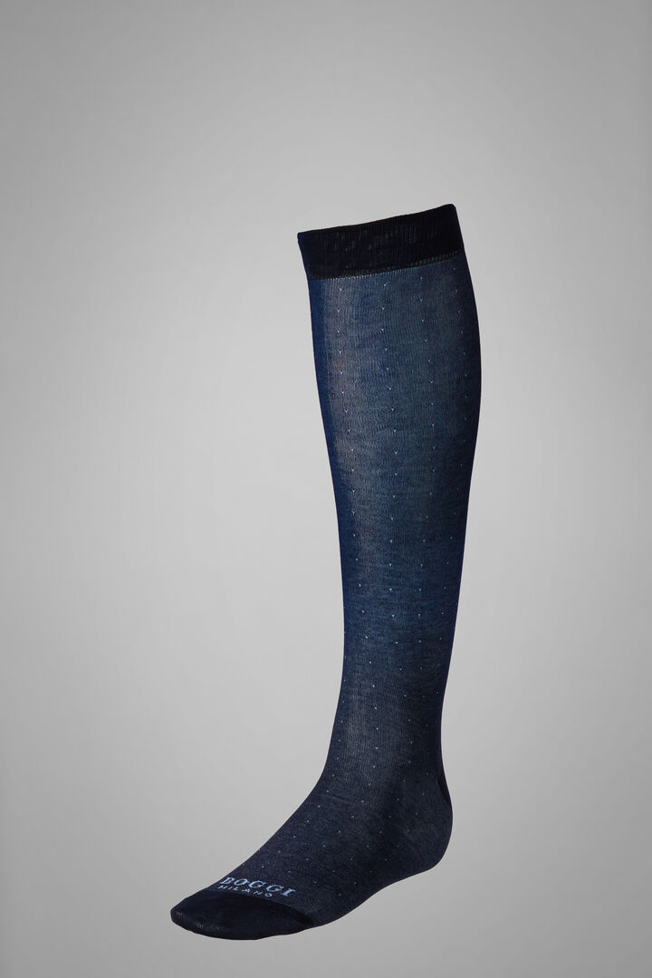 Long Socks With Micro Polka Dot Motif, Navy - Light blue, hi-res
