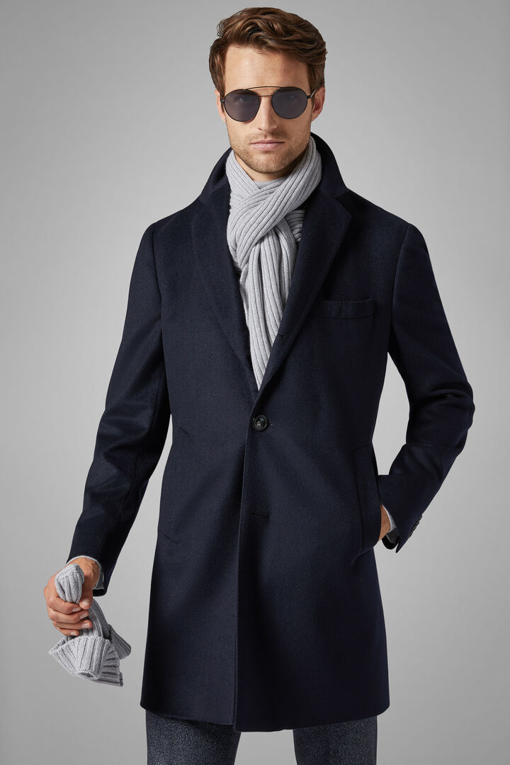 Single-Breasted Cashmere Coat, Navy blue, hi-res