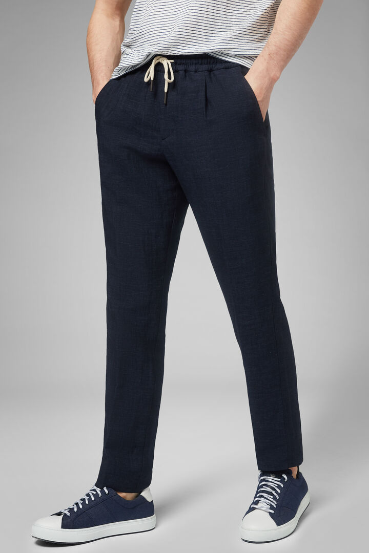 Linen/Tencel Trousers With Drawcord, Blue, hi-res