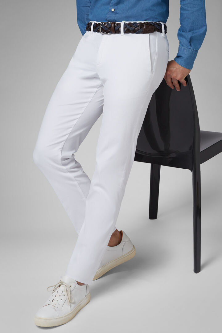 Slim Fit Stretch Panama Cotton And Tencel Trousers, White, hi-res