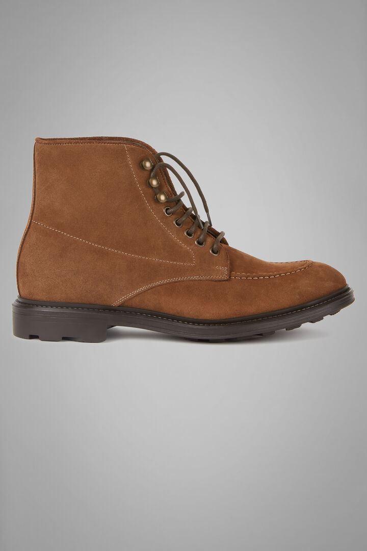Suede Lace-Up Ankle Boots, Beige, hi-res