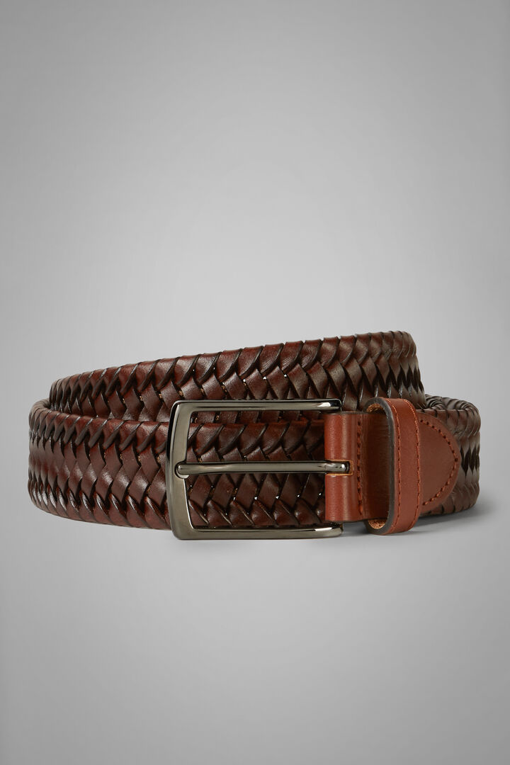 Woven Stretch Leather And Fabric Belt, Leather brown, hi-res