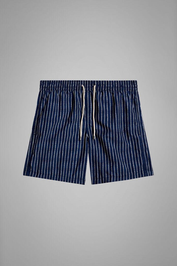 Badehose Mit Tie And Dye Aufdruck Streifen Blau, Blau Weiss, hi-res