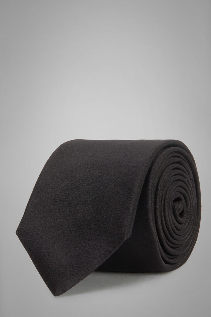 7 Cm Silk Satin Tie, Black, hi-res