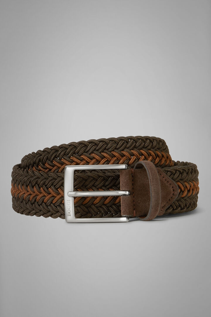 Two-Tone Woven Stretch Viscose Belt, Dark brown, hi-res
