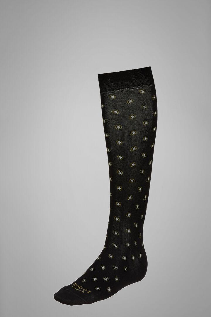 Long Socks With Paisley Motif, Black, hi-res