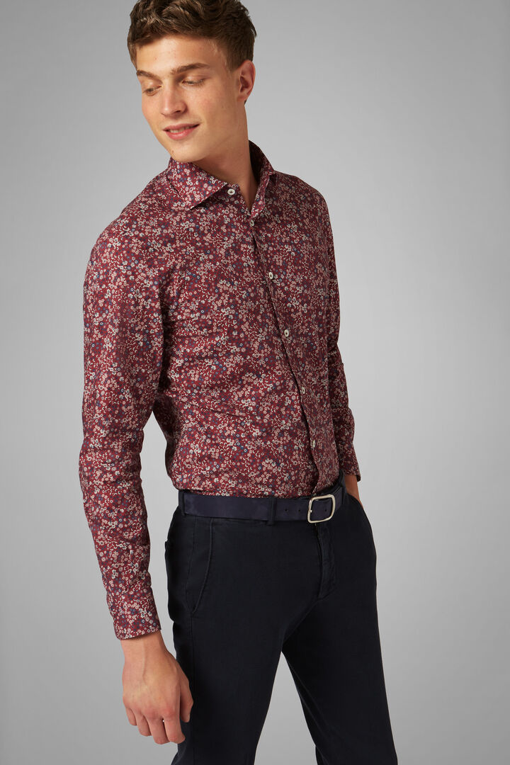 Camicia Bordeaux Stampa Fiori Collo Firenze Slim, Bordeaux, hi-res