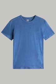 T-shirt aus elastischem leinenjersey, Indigo, hi-res