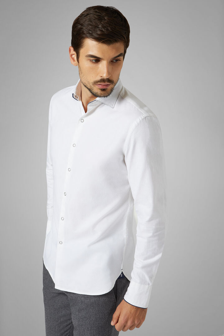 Slim Fit White Oxford Shirt With Closed Collar, White, hi-res