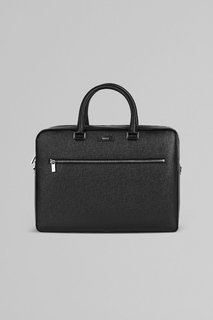 Caviar Print Leather Double-Zip Briefcase, Black, hi-res