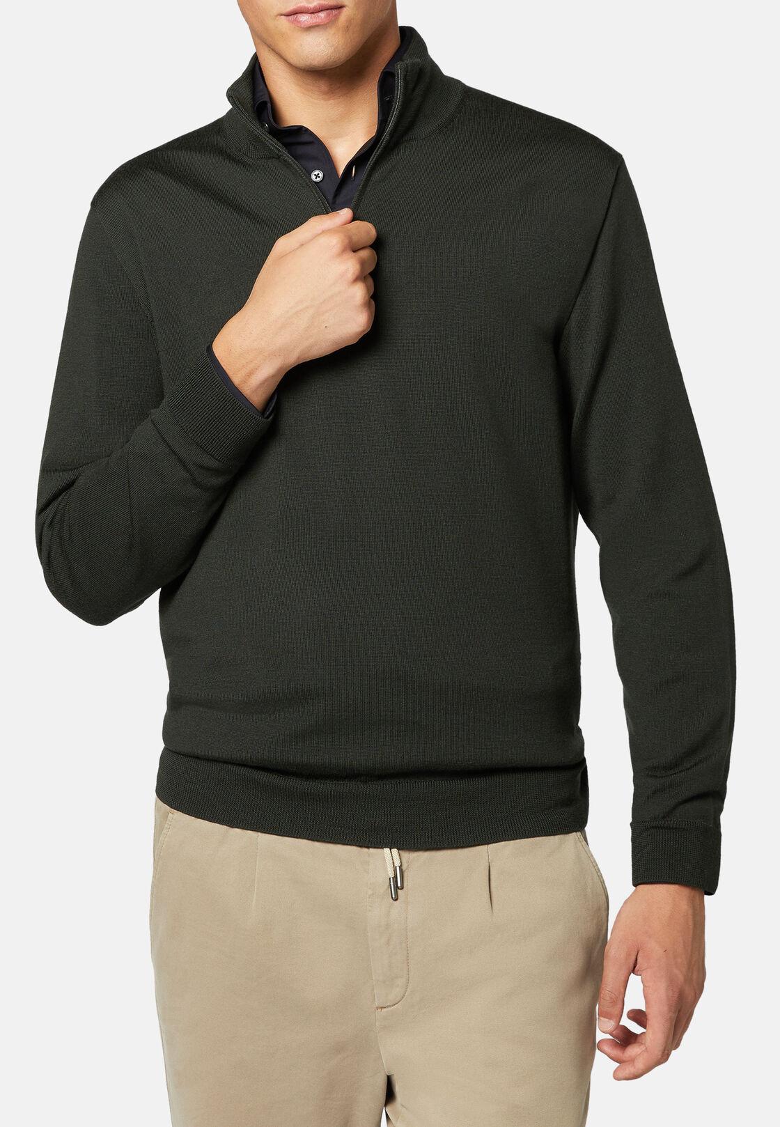 Green extra fine merino wool half zip jumper, Military Green, hi-res
