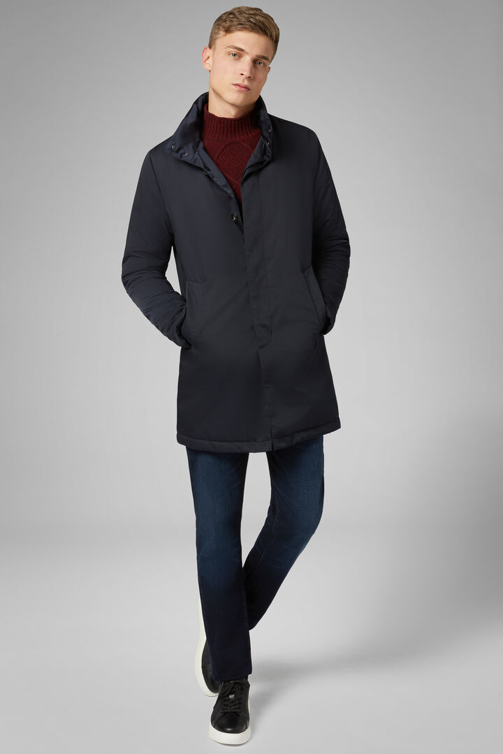 Padded Technical High Neck Coat, Navy blue, hi-res