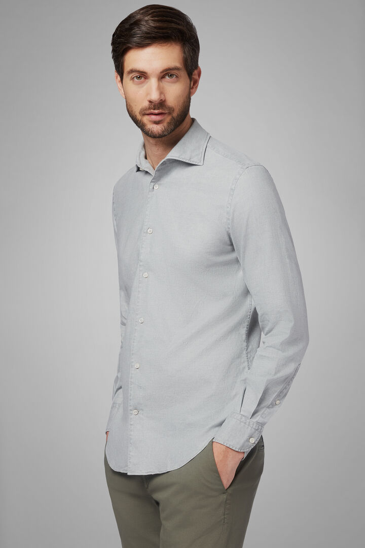 Regular Fit Pearl Grey Shirt With Cuban Collar, Grey pearl, hi-res