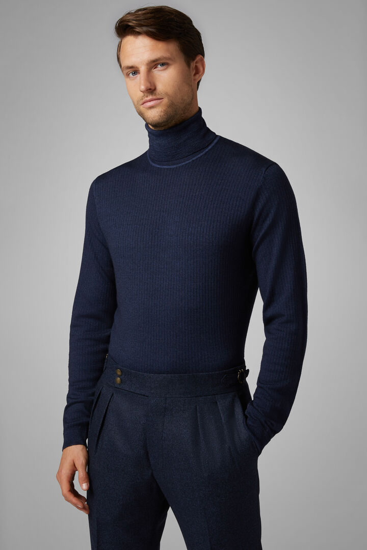 Stonewashed Merino Wool Polo Neck Jumper, Navy blue, hi-res