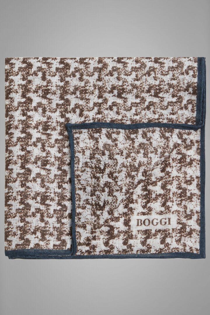 Houndstooth Print Linen Pocket Square, Dark brown, hi-res