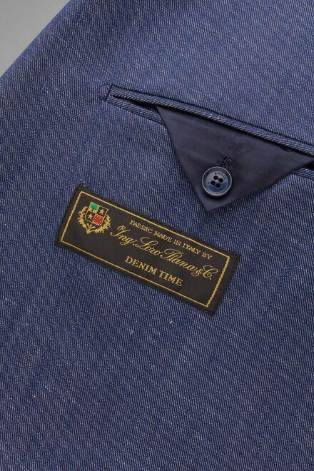 Denim-Anzug Napoli Wolle, Seide Und Leinen, Denim, hi-res