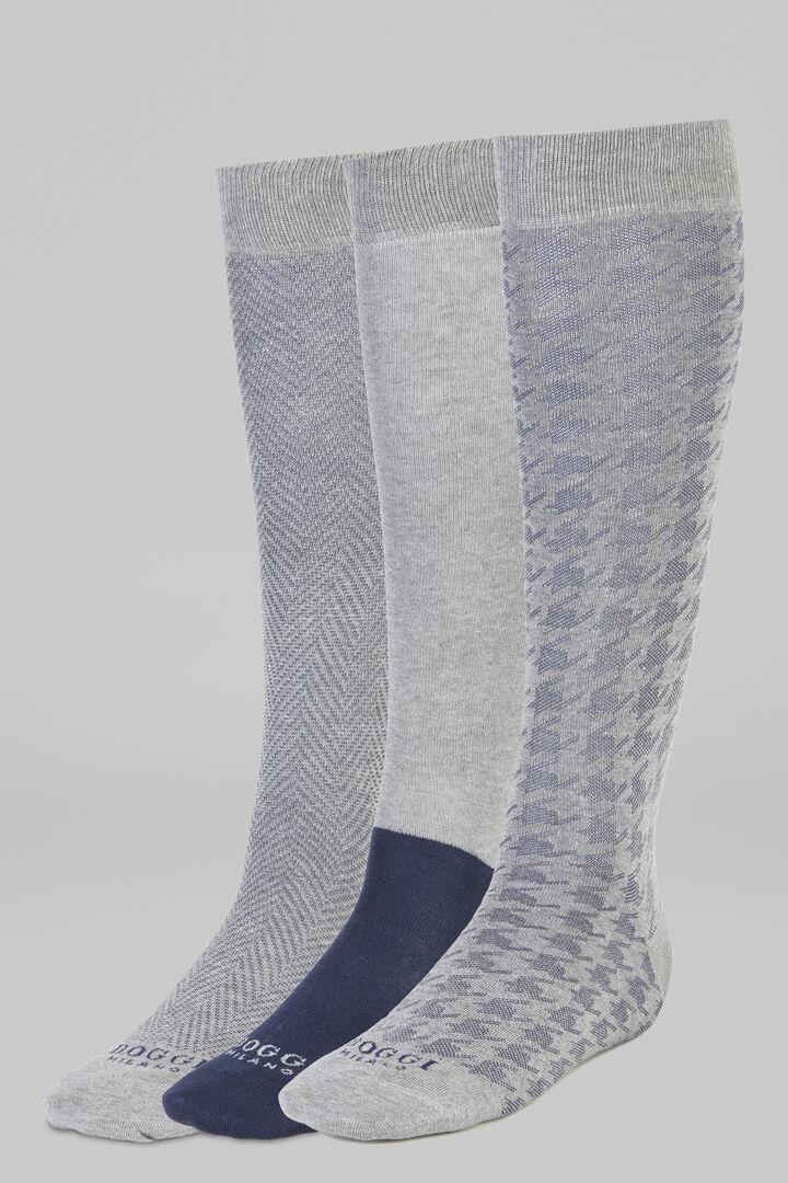 Pack Of 3 Long Socks, Grey - Blue, hi-res