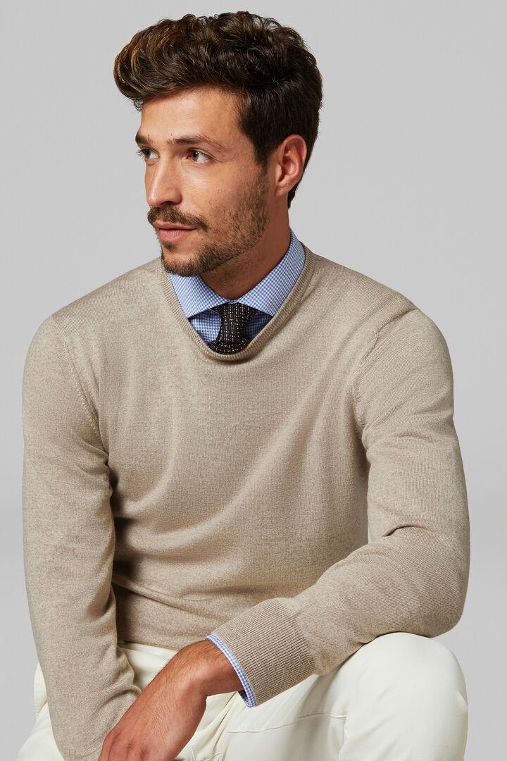 Extra Fine Merino Wool Round Neck Jumper, Grey - Beige, hi-res