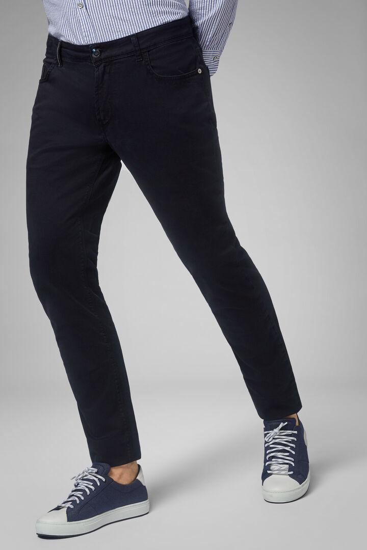 Pantalón Regular Fit De Algodón Elástico Con 5 Bolsillos, Azul oscuro, hi-res