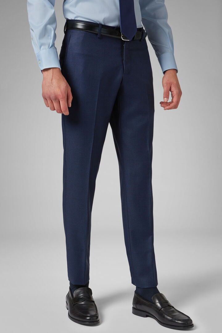 Slim Fit Cornflower Blue Wool Suit Trousers, Bluette, hi-res