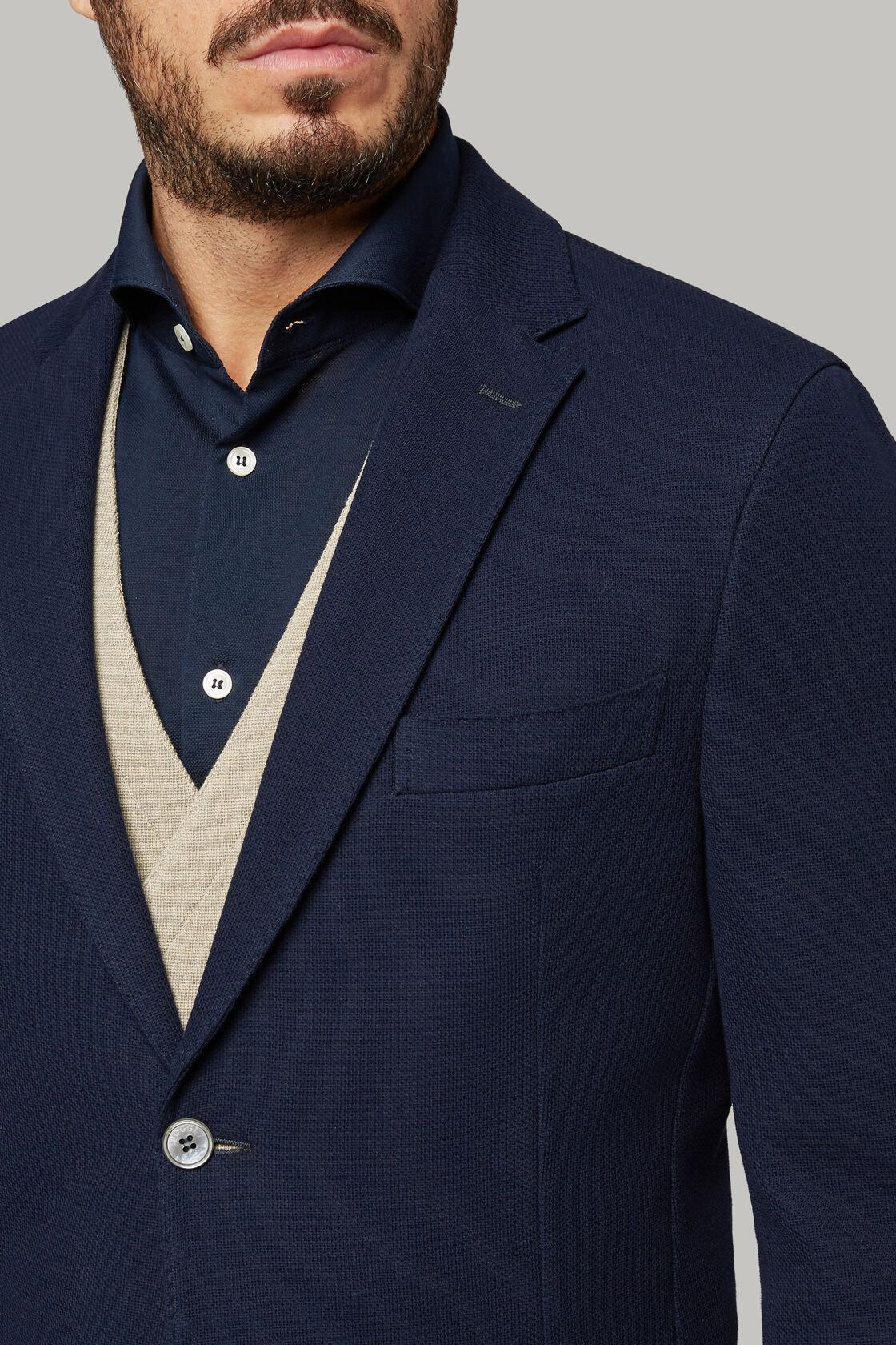 Nayvablaues sakko aus baumwolljersey und krepp, Navy blau, hi-res