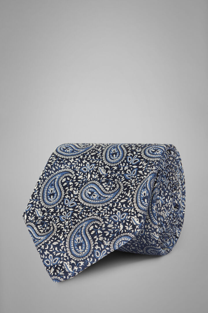 Cravatta Paisley In Seta Jacquard, Blu, hi-res