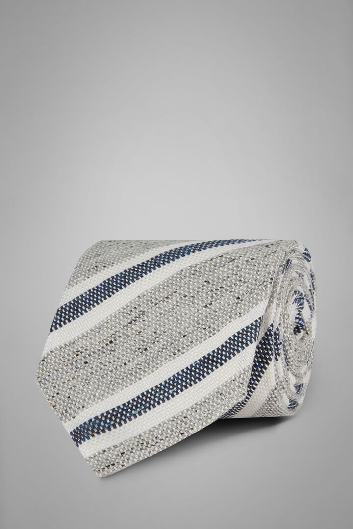 Regimental Bourette Silk Tie, Grey - Blue, hi-res