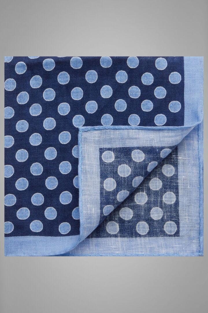 Pochette Motifs À Pois En Lin Imprimé, Bleu - bleu clair, hi-res