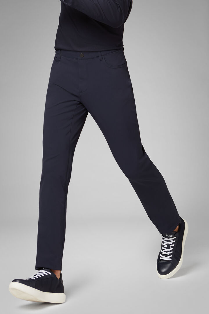 Regular Fit Technical Nylon Trousers, Navy blue, hi-res