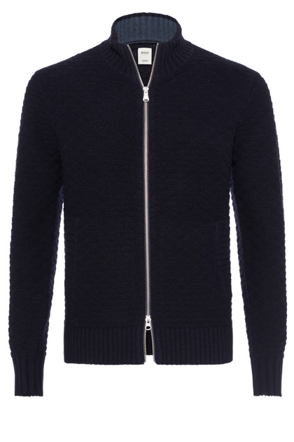 FULL ZIP KNITTED JUMPER CUSTOM FIT, Navy Blue, medium