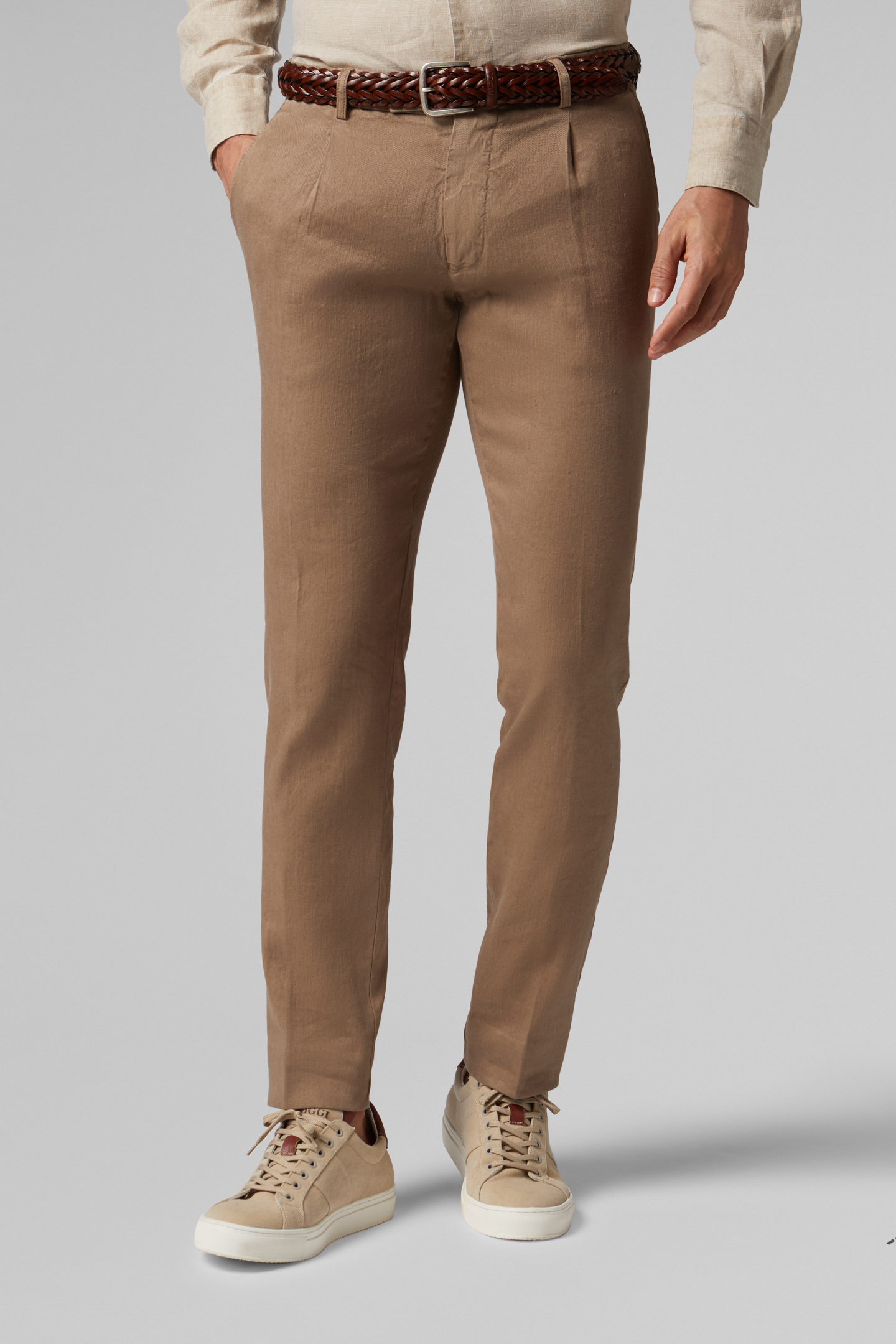 PANTALONE IN COTONE E LINO STRETCH SLIM FIT , , hi-res