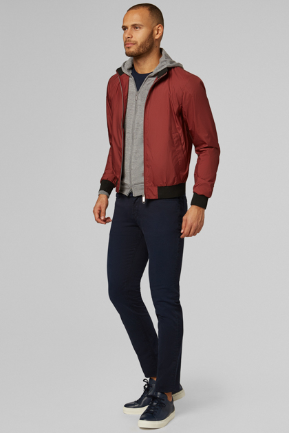 HIGH-DENSITY FABRIC BOMBER, RED, medium