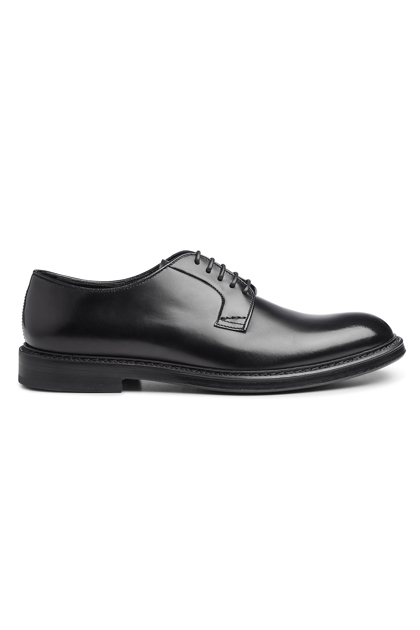 CALF LEATHER DERBY SHOE, Black, medium