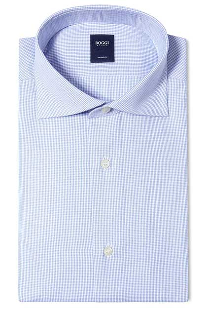 CAMICIA IN COTONE POPELINE COLLO WINDSOR TAILORED FIT, Azzurro, medium