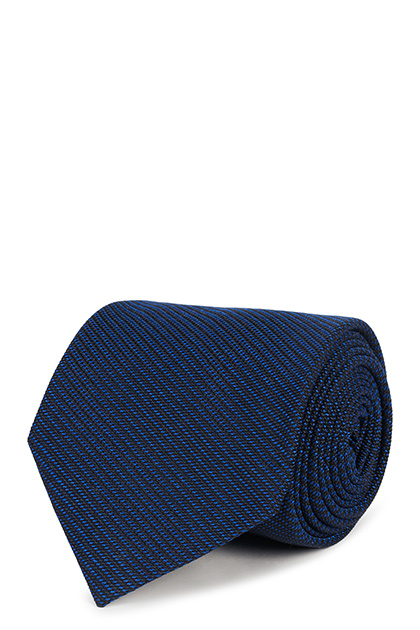 DIAGONAL SILK/COTTON JACQUARD TIE, Bluette, medium