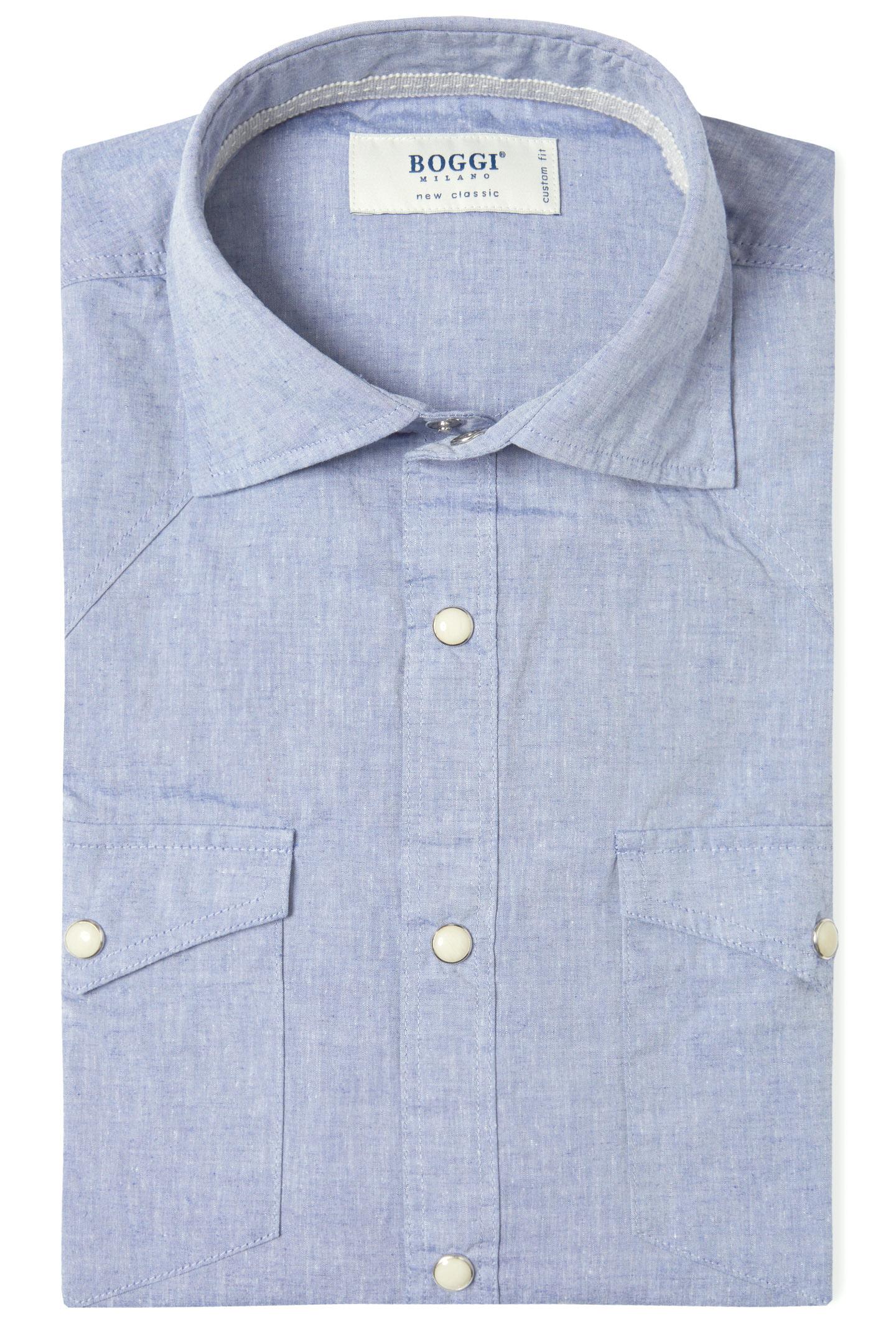 Custom Fit Poplin Cotton Shirt With Soft Collar Blue Boggi