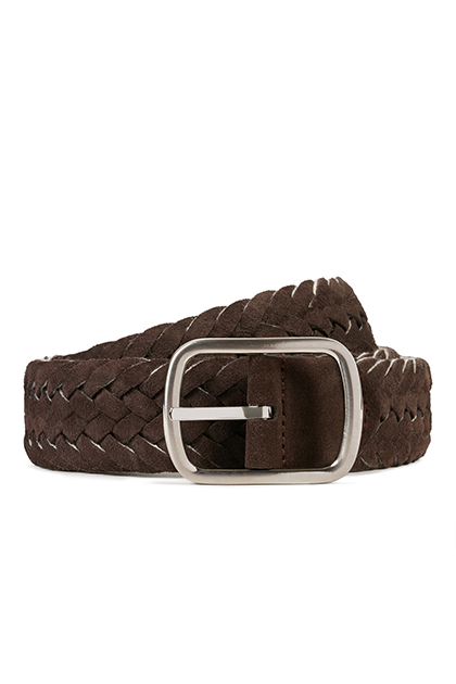 REVERSIBLE LEATHER AND WOOL BELT, Dark Brown - Beige, medium