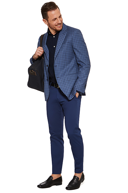 GINGHAM JACKET IN MELANGE SUPER 120 WOOL, Blue, medium