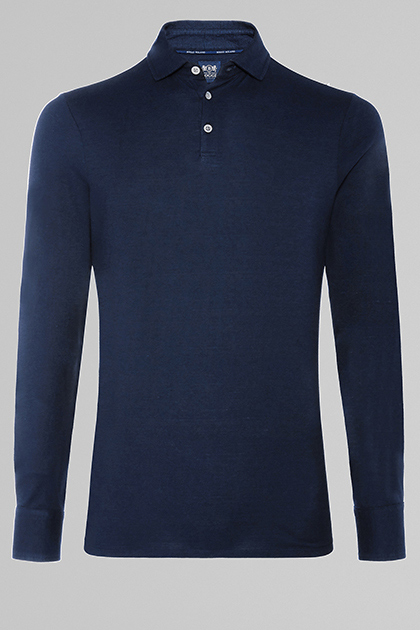 POLO BLU IN JERSEY COTONE & LINO, , medium