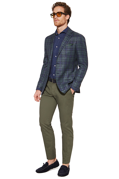 PRINCE OF WALES CHECK JACKET IN A WOOL/SILK BLEND, Green - Blue, medium