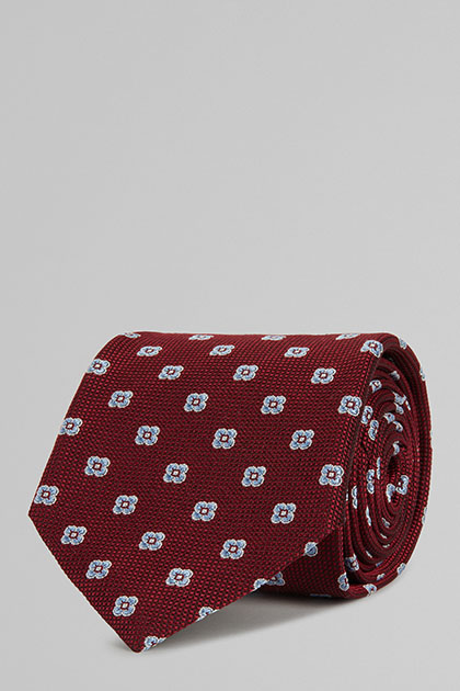 CRAVATTA IN SETA JACQUARD , BORDEAUX, medium