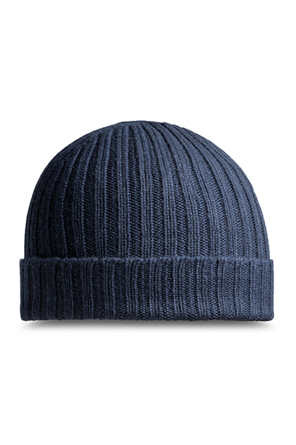 RIBBED PURE CASHMERE HAT - MADE IN ITALY, Navy Blue, medium