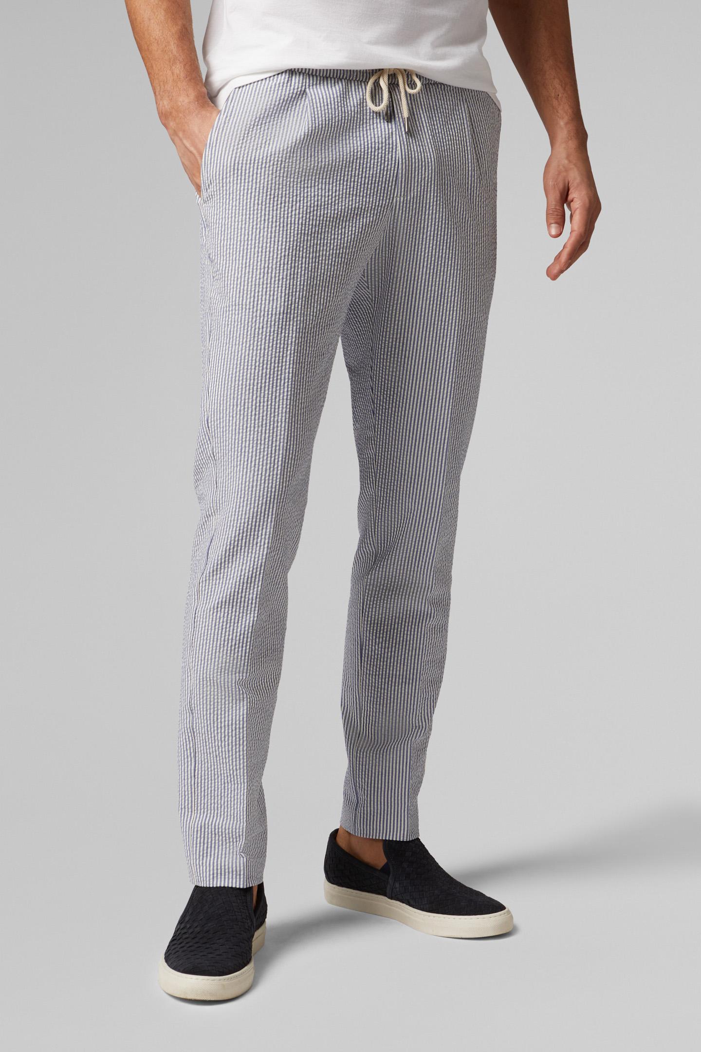 Regular Fit Cotton Seersucker Trousers With Drawstring Boggi